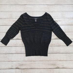 Express Medium Black and Gold Sparkle Sweater